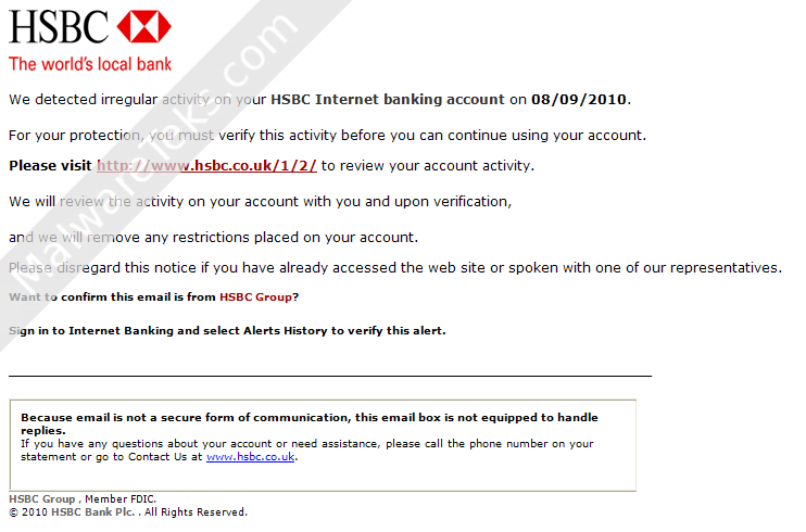 Bank of HSBC Alert Irregular Credit Card Activity Email Scam
